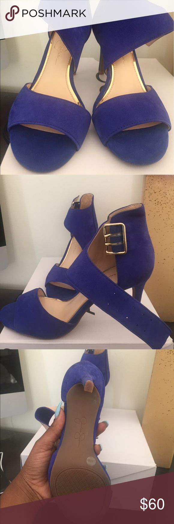 Jessica Simpson Royal Blue Heels Suede royal blue sandals worn only twice, very comfortable! I love these shoes just to small for me feet this is a size 6 true to size Jessica Simpson Shoes Heels