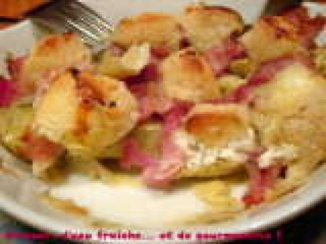 Recette : Coeurs d'artichaut, chèvre et lard en cassolette par D'amour, d'eau fraîche... et de gourmandise !