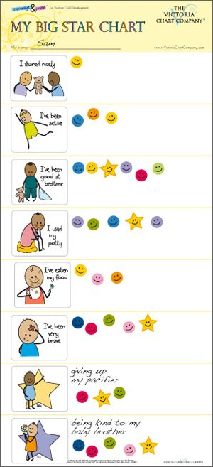 The Victoria Chart Company  - A large reward chart and re-usable stickers to help encourage positive behavior, achievement and development in children from 1 year. Ideal for supporting behavioral issues associated with toddlers, such as potty training