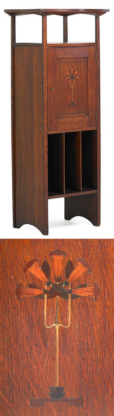 """HARVEY ELLIS (1852 - 1904) GUSTAV STICKLEY, rare inlaid music cabinet, Eastwood, NY, ca. 1904, Large red decal, 57 1/2"""" x 22 3/4"""" x 17"""""""