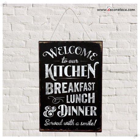Cartel de metal retro bienvenido a nuestra cocina - Cuadros para cocinas ...