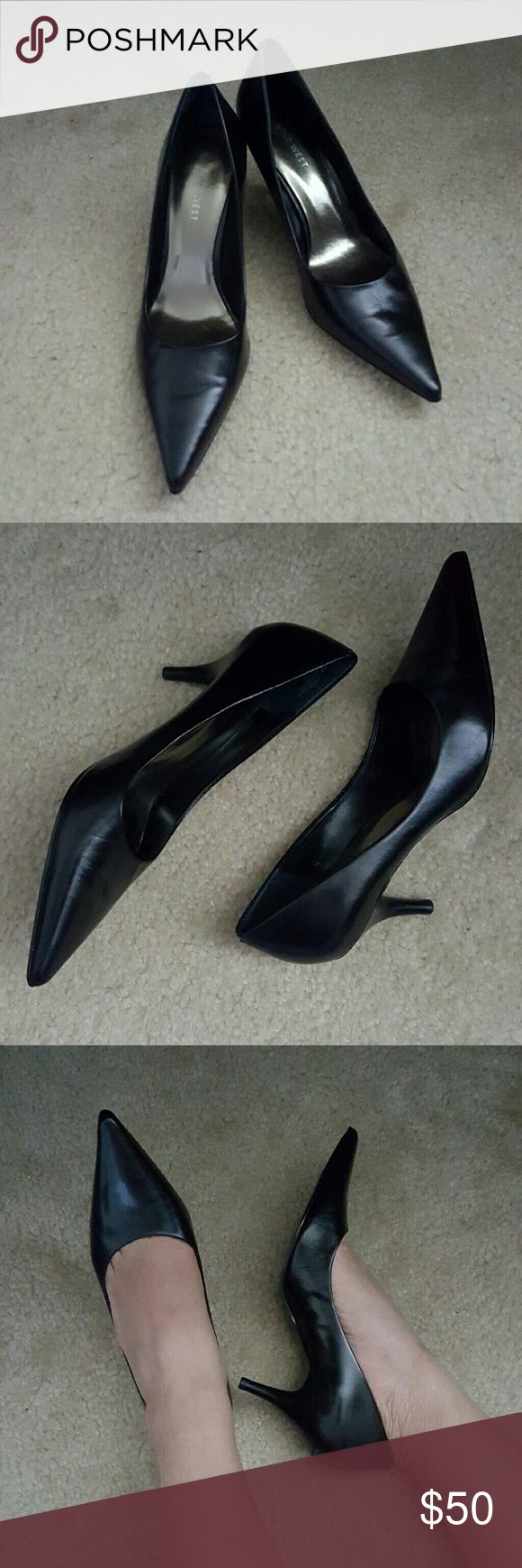 Nine West Heels Black pointed shoes with 3 in. heels. No box or dustbag. Used only once. Nine West Shoes