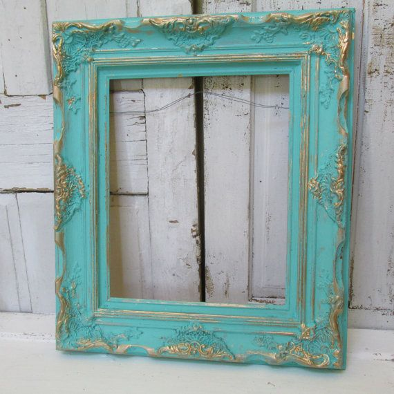 large wood frame shabby chic hand painted aqua and gold
