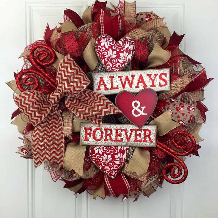 Valentine's Deco Mesh Wreath, Valentines Wreath, Valentine's Always and Forever Wreath, Burlap Valentine's Wreath, Red and Burlap Wreath by RhondasCre8iveCorner on Etsy