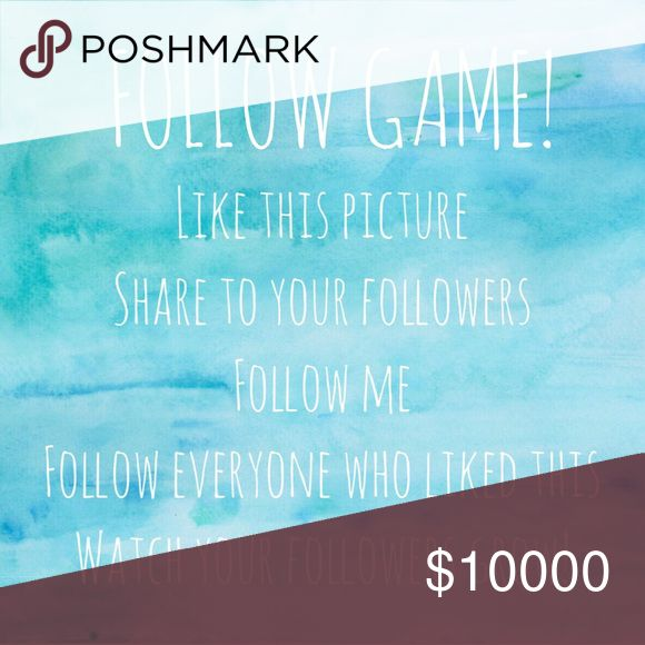 FOLLOW GAME!!  WATCH FOLLOWERS GROW! Like this picture, share this, follow me and everyone else who likes!  When you get notified of a price drop, come back to follow the new likes!  Please tag people below, this is my first follow game💕 Tops