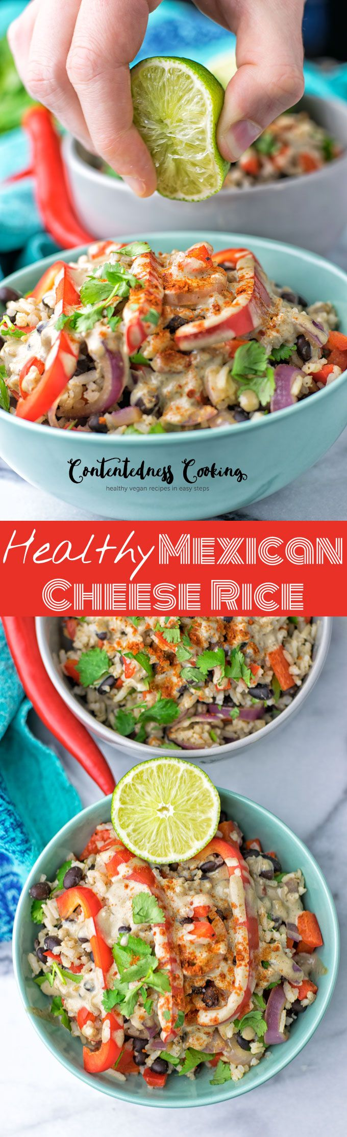 This Healthy Mexican Cheese Rice is made with just 5 simple ingredients and in 2 easy steps. A flavorful crunchy dish showing how delicious vegan Mexcian style food can be!