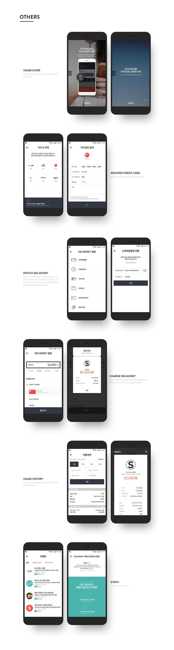 SSG PAY is the mobile service which can pay as a credit card, cash, voucher, and point at once  in online/offline store.SSG PSY는 신용카드, 현금, 상품권 포인트를 온/오프라인 매장에서 한번에 결제할 수 있는 모바일 서비스 입니다.