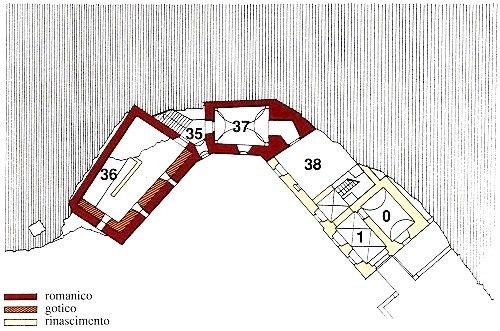 0 - stanza del corpo di guardia 1 - androne 35 - scala 36 - cantina del castello 37 - anticamera 38 - cortile interno coperto, con il luogo per legare i cavalli
