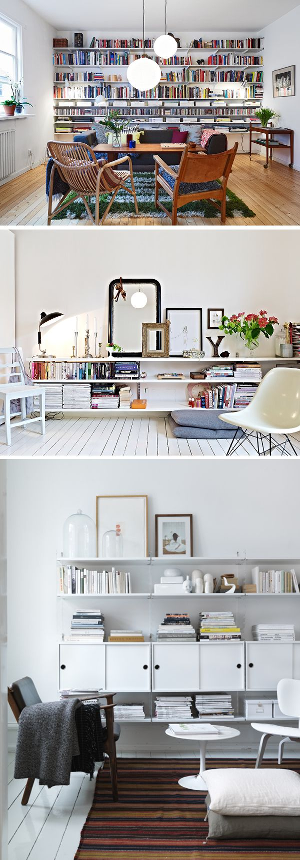 Love those wall shelves, esp the ones in the photos 2 and 3. Would work well in place of a credenza etc.