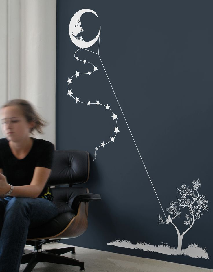 """""""Moon Kite"""" - I absolutely LOVE this. I so want to do this in my house. I'll have to find a place, and to paint the wall that lovely blue color that makes it pop so well."""