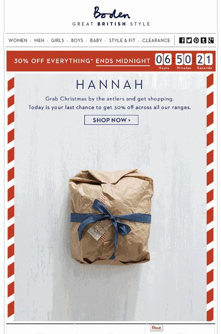 Great Christmas email examples from fashion retailers.