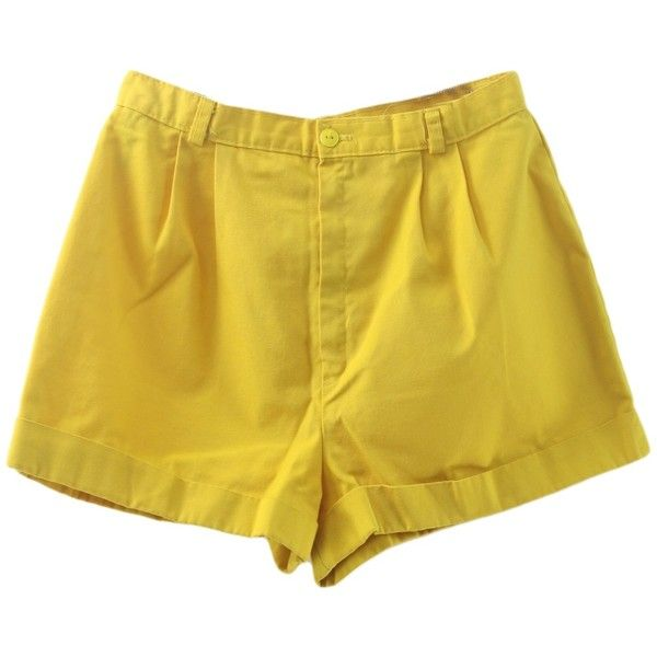 1980's Shorts (A Byer): 80s -A Byer- Womens yellow background cotton... (1.370 RUB) ❤ liked on Polyvore featuring shorts, bottoms, cotton shorts, 80s shorts, high waisted cuffed shorts, button shorts and yellow shorts