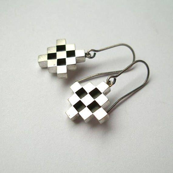 Silver Geometric Dangle Earrings Industrial Modern