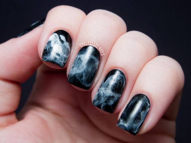 Chalkboard Nails: #31DC2013 Day 07: Black and White Midnight Smoke Nail Art