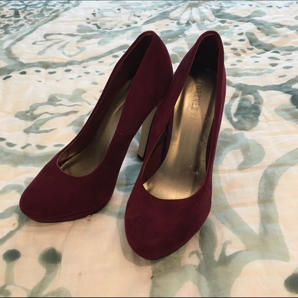 Sale  Forever 21 Burgundy Heels Worn once for a few hours. Suede material. Forever 21 Shoes Heels