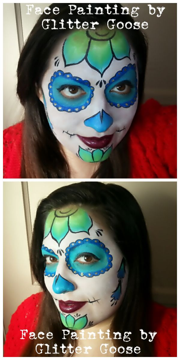 blue green floral sugar skull by glitter goose flower flowers calavera makeup face paintingsday of the deadsugar - Halloween Day Of The Dead Face Paint