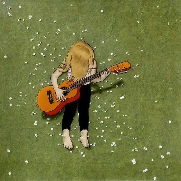 """Guitar Girl, 10""""x10"""" and 1"""" thick, Modern Art Print mounted and ready to hang. Mounted Print of my original painting. This reproduction is generated by me in my studio on an Epson printer and mounted with 6 tiny brass nails between acrylic sheet and cradled birch wood panels. It is wired and ready to hang! Second picture is for example of construction and painted edge only. Actual print for sale is the main image."""