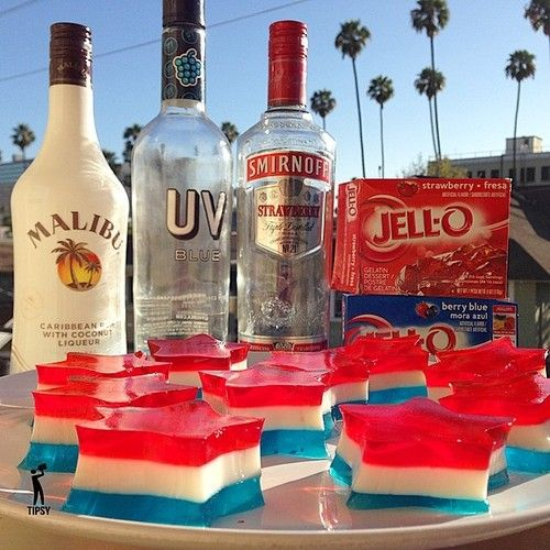 ▃▃▃▃▃▃▃▃▃▃▃▃▃▃▃▃▃▃▃▃   THE 4TH OF JULY JELLO SHOTS 1 Cup UV Raspberry Blue Vodka 1 Cup Coconut Rum 1 Cup Strawberry Vodka 3 Cup Hot Water 14...