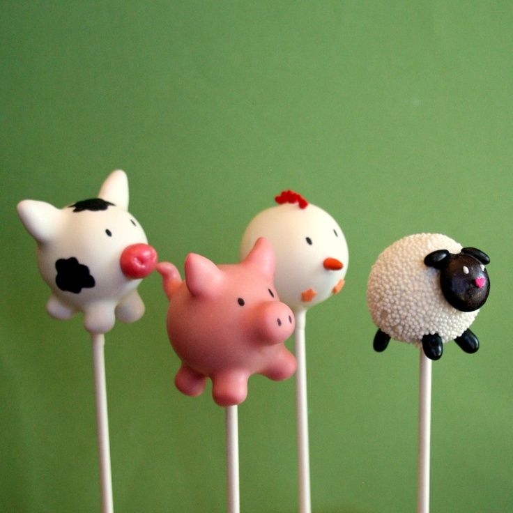 12 Farm Animal Cake Pops Cow Pig Chicken Sheep For