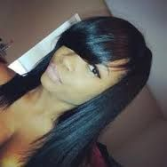 full sew in with swoop bangs - Google Search