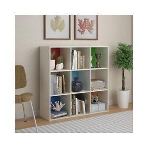 Storage-Cube-Bookcase-Shelves-Nine-Color-Block-White-Organizer-Book-Unit-Display