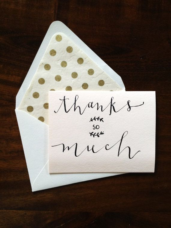Thanks so much modern calligraphy card via etsy allieway