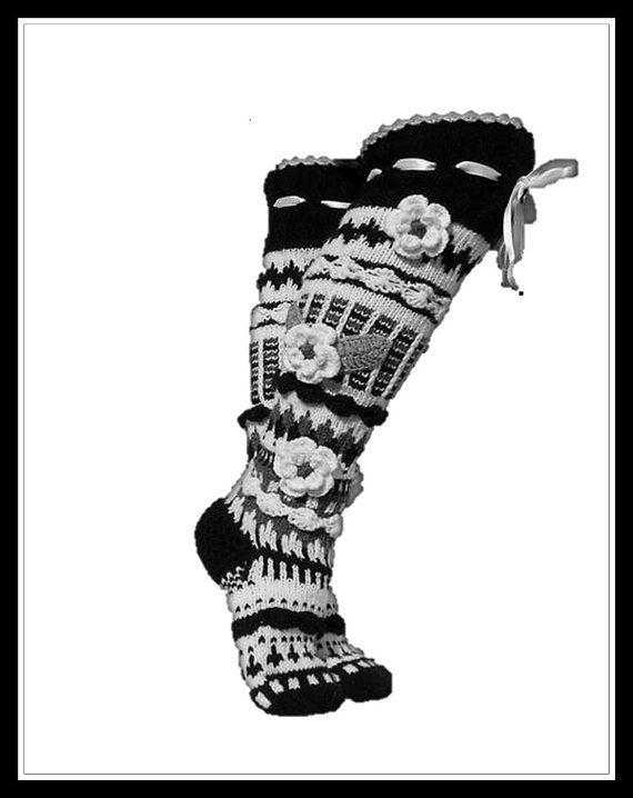 Over the knee Socks, Women's knitted High Socks, Bohemia worm Socks, Ladies Handmade wool Socks, Model: DENITSA