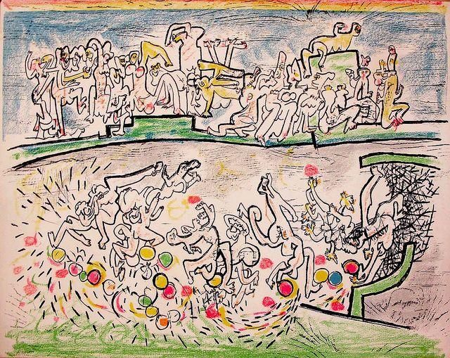 Roberto Sebastian Matta - Litogravura - 'un premier goal au chili' 1972 - 56x72cm.