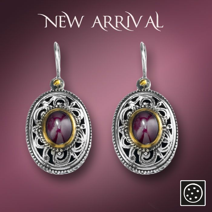A new pair of filigree sterling silver drop earrings with garnet gemstones and gold accents.  Check out the link for more details and join our newsletter to get your exclusive discount.