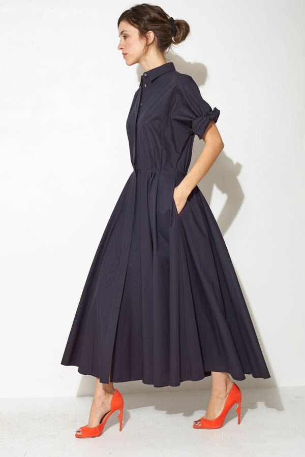 Love the pop of red shoes with the black dress > Navy Maxi Shirtdress by Ter et Bantine | shopheist.com