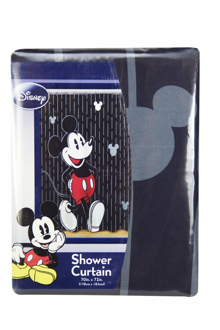 Mickey Fabric Stripped Shower Curtain   with Mickey Mouse in his signature  pose  Measures 70. 37 best Disney Mickey Mouse Shower Curtain and Bath Accessories