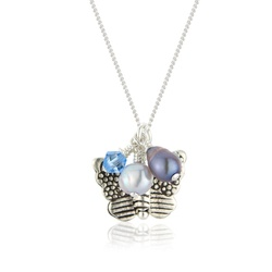 childs silver butterfly necklace with blue pearls and swarovski crystals £18 #butterfly #silver #pearl #jewellery #jewelry