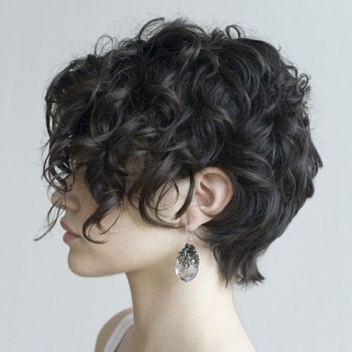 Curly, wavy longer shag / pixie. If only my sister's hair curled like mine, she'd be set!