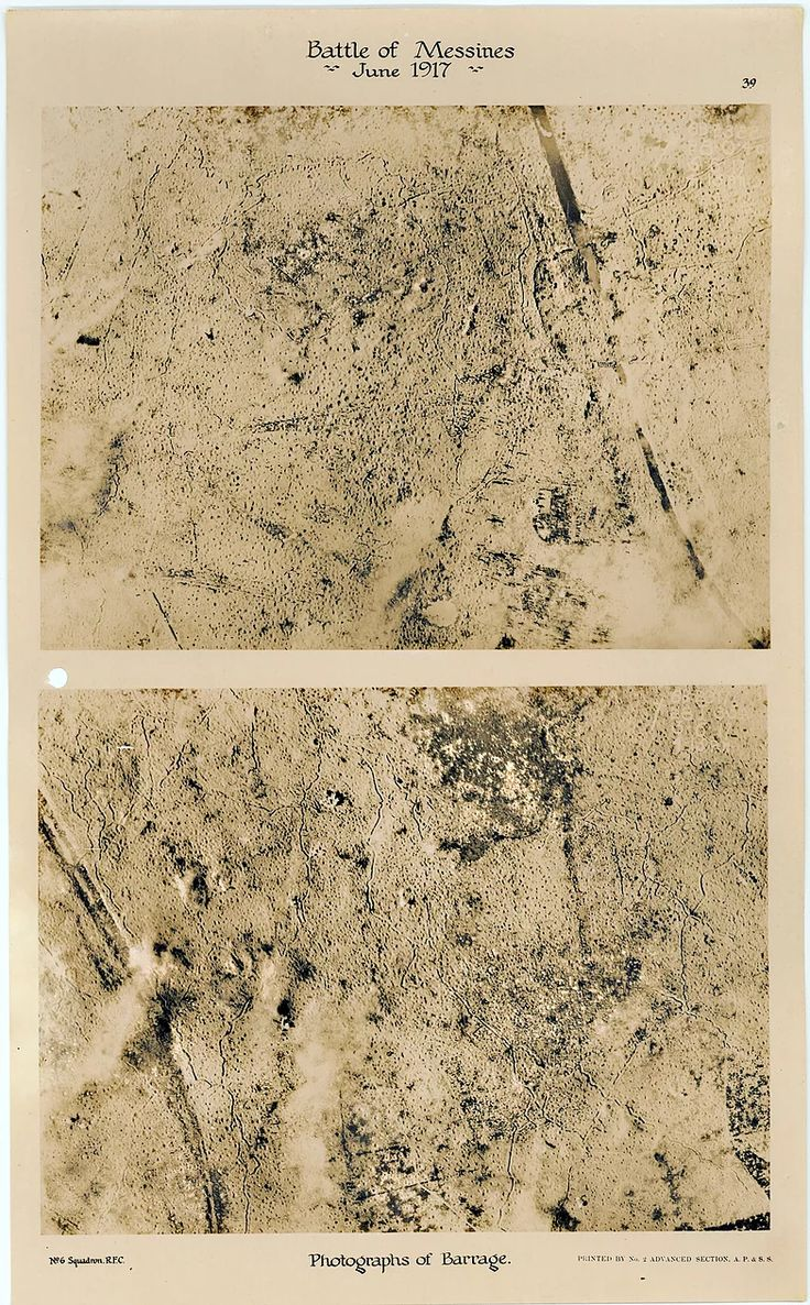 This is page 39 of 43 pages of aerial photos taken by 6 Squadron Royal Flying Corps before and after the Battle of Messines. These two photos were taken to show the impact of allied barrage east and west of the Ypres-Commines canal, immediately prior to the Battle of Messines in June 1917.
