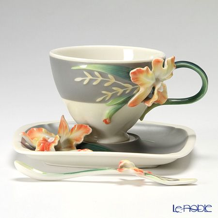 Franz Collection Cattleya cup and saucer with a spoon