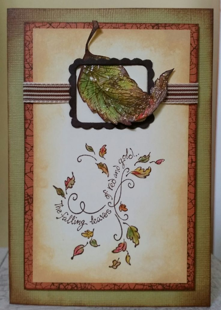 """""""Curled Leaf"""" F-3100, """"Falling Leaves"""" G-3229 and """"Crackle"""" G-3196 all by PSX. Sizzix Decorative Frames set die 657094. Card by Susan of Art Attic Studio"""