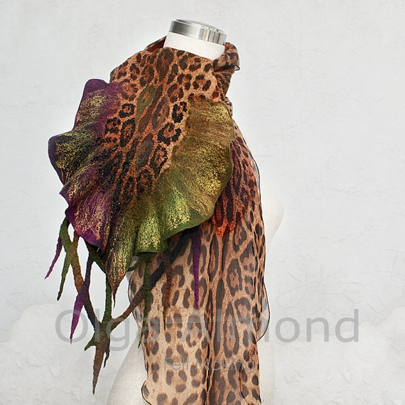 Nuno felted merino wool and silk chiffon scarfHand by OlgaAlmond, $139.00