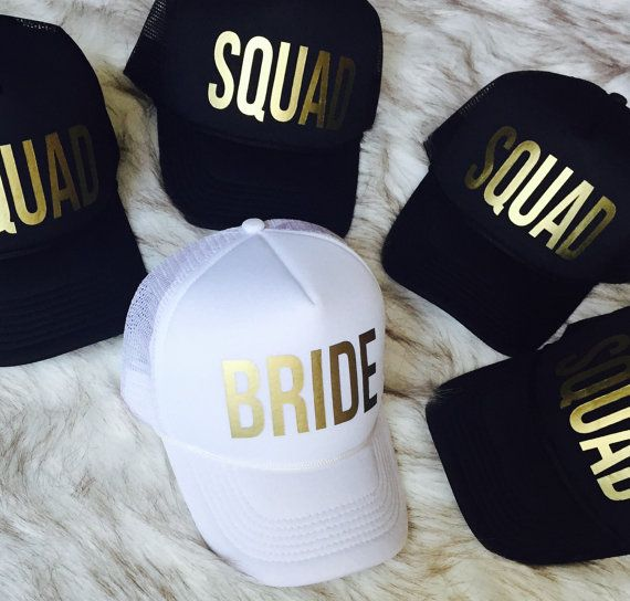 Who is in your SQUAD? This awesome hat set is perfect for any of your wedding festivities. The Metallic Gold text is eye catching and pretty! Order