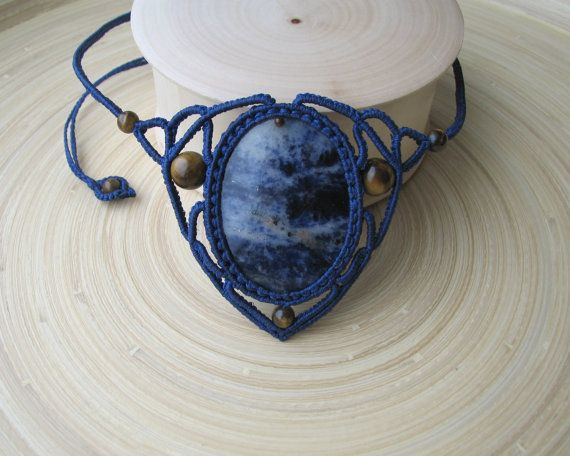 Sodalith Makramee Halskette Edelstein Halskette von PieceOfGraceArt