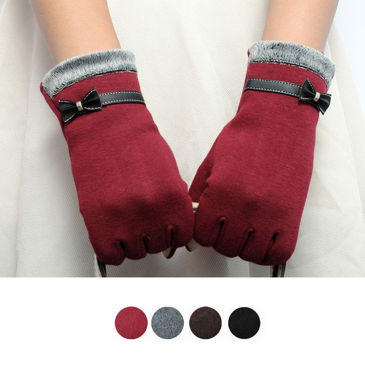 US $2.02 -- Feitong Fashion Elegant Womens Screen Winter Warm Wrist Gloves Mittens Cashmere Bow Full Finger Top Quality aliexpress.com
