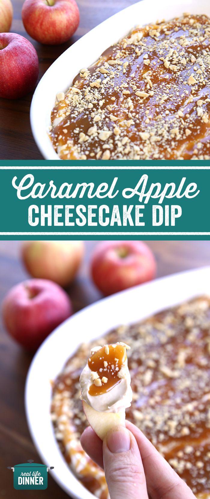 Caramel Apple Cheesecake Dip. Seasonal Favorite! #appledip #caramel #apple #dip #fall #desserts #creamcheese #reallifedinner #recipe #applerecipe #healthy #glutenfree ~ https://reallifedinner.com