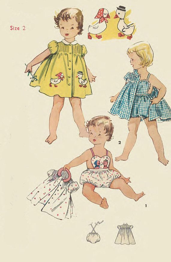 834e3abe3a Vintage 1950's Sewing Pattern RARE Toddler's Duck Romper Sunsuit & Dress  Size 2