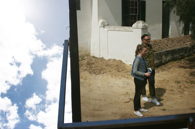 Chris Viljoen and assistant Luzanne, reflecting against the sky. Photo: Danielle Clough.