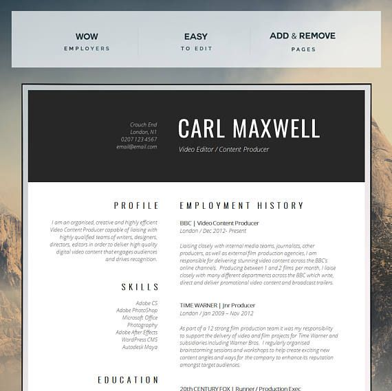 This super easy to edit, Professional Resume Template / Creative Resume Template is an immediate download for MS Word (Mac or PC / A4 & Letter sizes) - Optimize your job search! At introDuice we create Professional Resume Templates to help you make a stunning first impression when