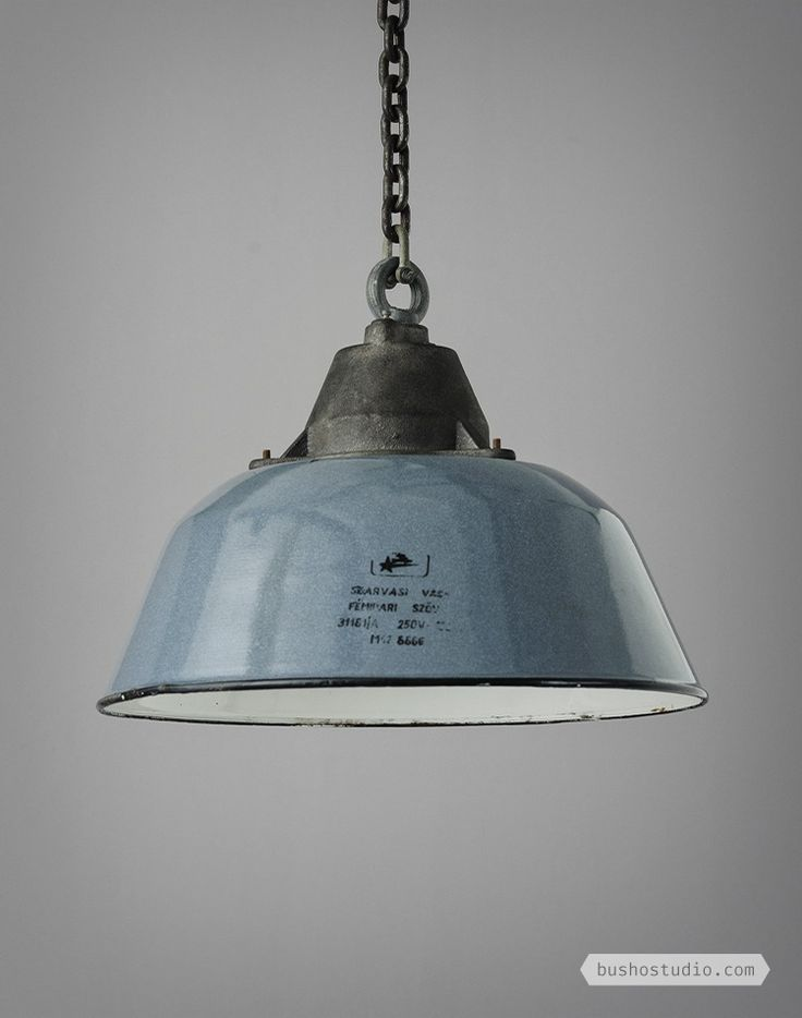 HUNGARIAN VINTAGE INDUSTRIAL LIGHTS - These blue enamel coated workhouse lamps were obtained from a Hungarian industrial premise. // BUSHO STUDIO