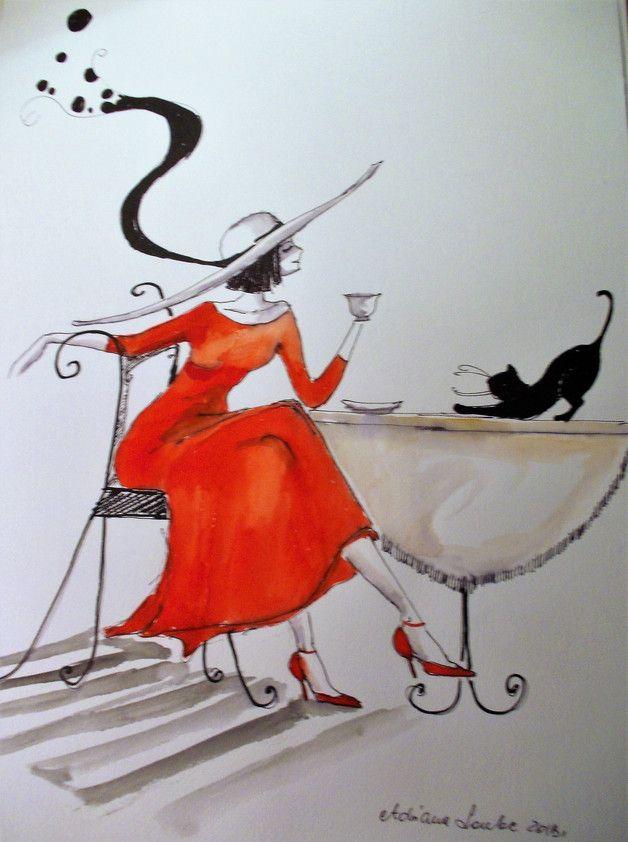 """Urocza praca akwarelą i piórkiem """"Dama z kotem"""" wykonana przez artystkę plastyka Adrianę Laube na papierze A3. Praca sygnowana, wysyłana w kartonowej tubie, by dotarła do Państwa w idealnym..."""