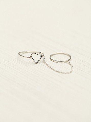Heart/Moon Chain Ring