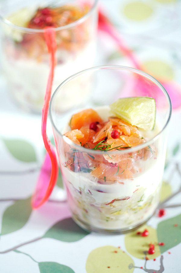 verrine concombre, yaourt et saumon fumé (in english)