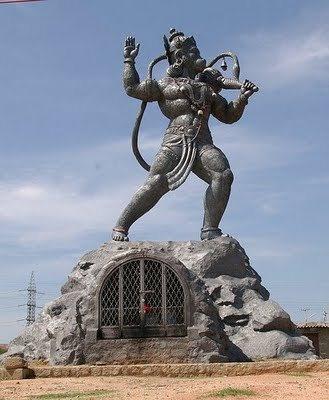 20 feet Black Granite Hanuman Statue in Bangalore