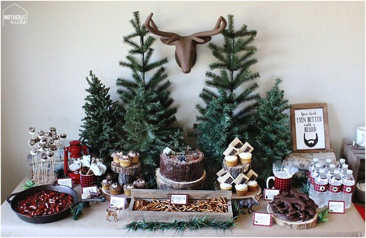 lumberjack party table and decor + free printables